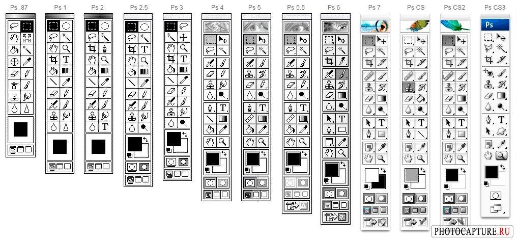 Эволюция панели инструментов Adobe Photoshop с 1 по CS3 версию