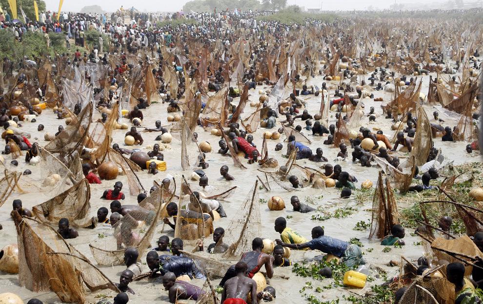 Более 30 000 рыбаков со всех частей Нигерии и соседней западной Африки пытаются поймать рыбу на проходящем рыбацком фестивале. 15 марта 2008 год. Pius Utomi Ekpei/AFP/Getty Images