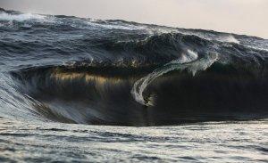 Сёрфингист Керби Браун красиво идёт на большой волне. 6 июля 2008 год. REUTERS/Andrew Buckley