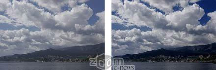 Слева – снимок без фильтра, справа – с поляризационным  фильтром