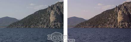 Слева – снимок без фильтра, справа – с фильтром  Skylight
