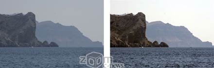 Слева – снимок без фильтра, справа – с  ультрафиолетовым фильтром