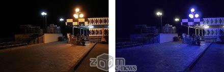 Слева – снимок без фильтра, справа – с цветным  фильтром